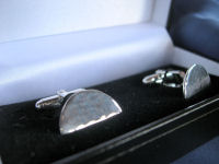 Hammered Half Circle Cufflinks